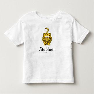 Leopardo lindo del dibujo animado personalizado playera de bebé