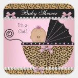 Leopardo lindo del rosa de la niña de la fiesta de pegatinas cuadradases