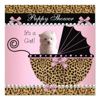 """Leopardo lindo del rosa del perro de la ducha del invitación 5.25"""" x 5.25"""""""