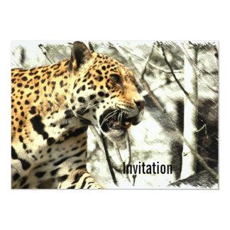 """leopardo moderno elegante del safari de África Invitación 5"""" X 7"""""""