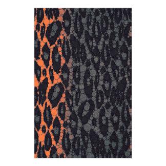 Leopardo negro anaranjado fluorescente personalized stationery