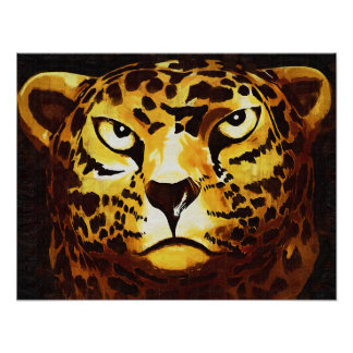 Leopardo - negro, estilo gótico (l4goth) posters