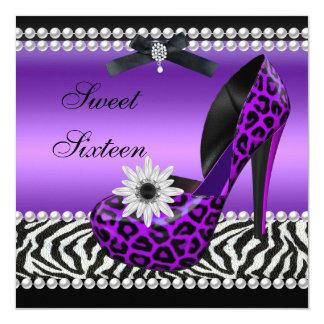 """Leopardo negro púrpura de la cebra dieciséis del invitación 5.25"""" x 5.25"""""""