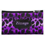 Leopardo negro púrpura del bolso cosmético de Zizz