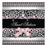 Leopardo negro rosado blanco del dulce dieciséis anuncio personalizado
