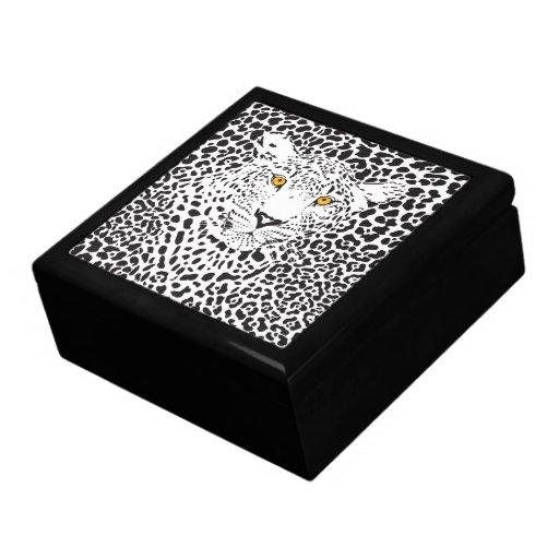 Leopardo negro y blanco camuflado en modelo de los caja de regalo