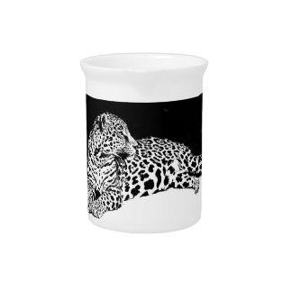 Leopardo negro y blanco jarra para bebida