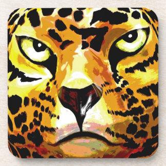 Leopardo - parte posterior del blanco, estilo 1 (l posavasos de bebida