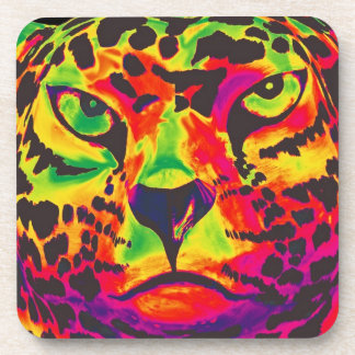 Leopardo - parte posterior del negro, estilo del a posavasos
