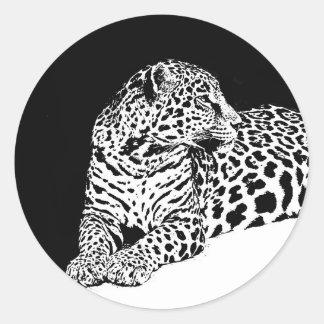 Leopardo Pegatina Redonda
