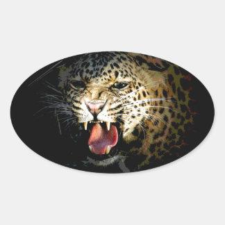 Leopardo Pegatina Ovalada