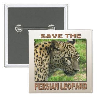 Leopardo persa pin cuadrado