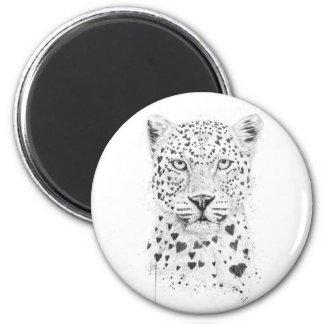 Leopardo precioso imán redondo 5 cm