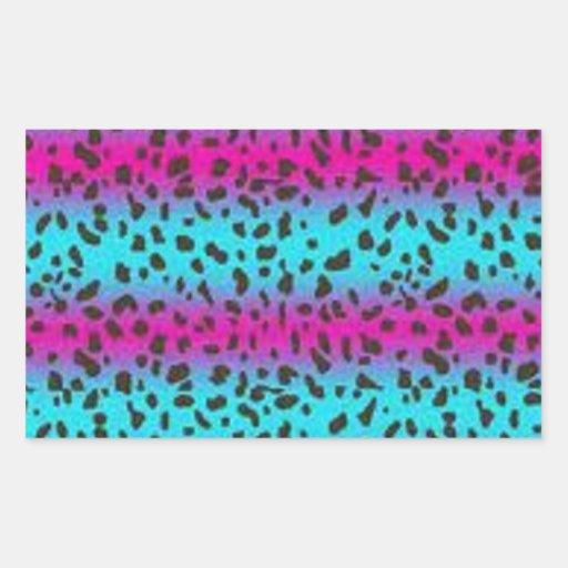 Leopardo precioso pegatina rectangular