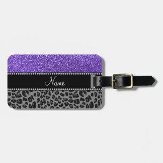 Leopardo púrpura conocido personalizado del negro etiqueta para equipaje