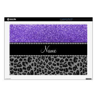Leopardo púrpura conocido personalizado del negro  portátil calcomanías