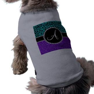 Leopardo púrpura de la turquesa del brillo del ropa perro