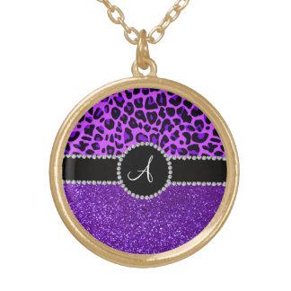 Leopardo púrpura de neón del brillo púrpura del colgante redondo