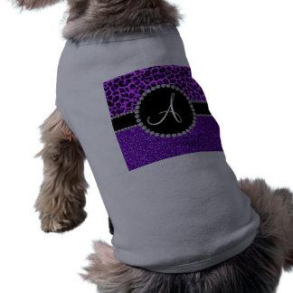 Leopardo púrpura de neón del brillo púrpura del camisa de perrito