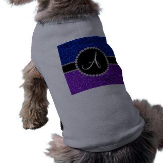 Leopardo púrpura del azul del brillo del añil del camisas de mascota