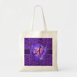 Leopardo púrpura del monograma subió bolsas