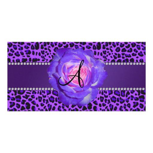 Leopardo púrpura del monograma subió tarjeta personal con foto