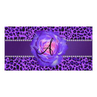 Leopardo púrpura del monograma subió tarjetas con fotos personalizadas
