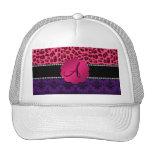 Leopardo púrpura del rosa del damasco del monogram gorra