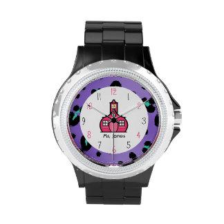 Leopardo púrpura y reloj rosado del profesor de la