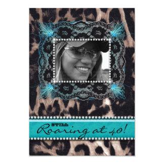 """Leopardo que ruge 40 joyas del azul de la fiesta invitación 5"""" x 7"""""""