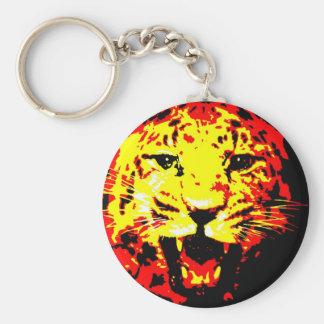Leopardo que ruge llavero redondo tipo pin