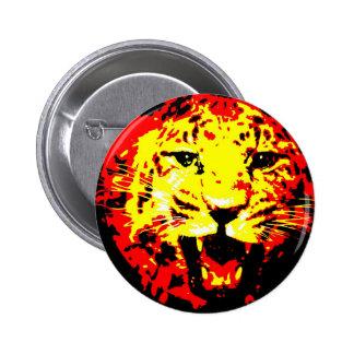 Leopardo que ruge pin redondo de 2 pulgadas