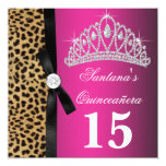 Leopardo Quinceanera de las rosas fuertes Invitación 13,3 Cm X 13,3cm