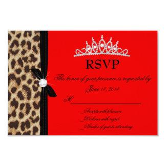 leopardo Quinceanera rojo RSVP Invitación 8,9 X 12,7 Cm
