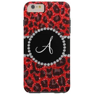 Leopardo rojo de neón del brillo del monograma funda de iPhone 6 plus tough