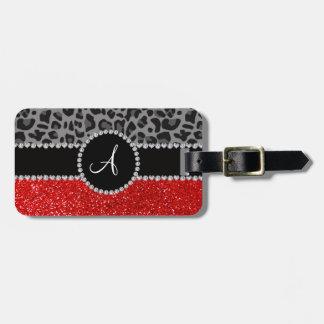 Leopardo rojo del negro del brillo del monograma etiqueta de equipaje