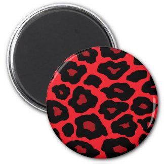 Leopardo rojo imán redondo 5 cm