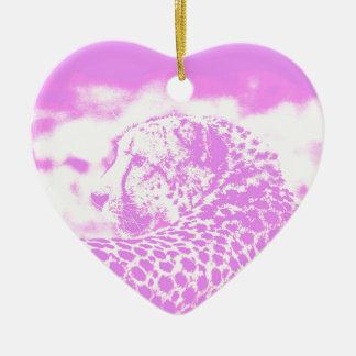 Leopardo rosado adorno navideño de cerámica en forma de corazón