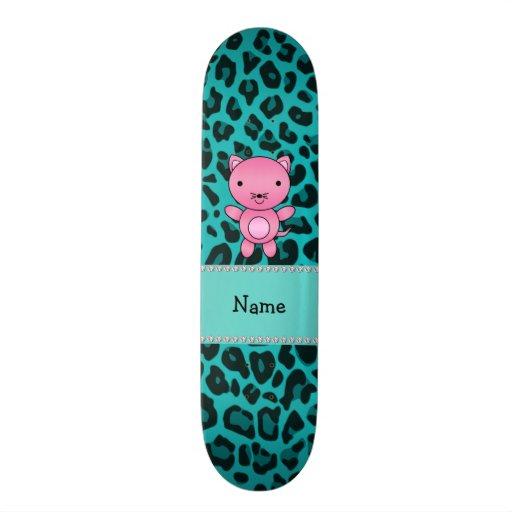 """Leopardo rosado conocido personalizado de la turqu patineta 7 3/4"""""""