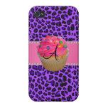 Leopardo rosado de la púrpura de la magdalena del  iPhone 4 fundas