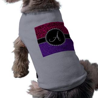 Leopardo rosado de neón del brillo púrpura del camisetas de perrito