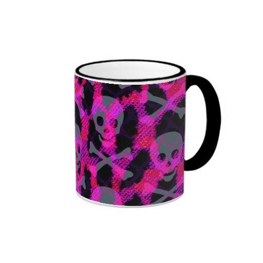 Leopardo rosado del cráneo de Deathrock Taza De Dos Colores