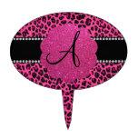 Leopardo rosado del monograma figuras de tarta