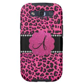 Leopardo rosado del monograma samsung galaxy s3 protectores