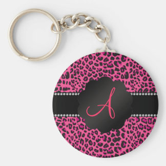 Leopardo rosado del monograma llavero redondo tipo pin