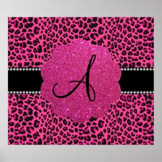 Leopardo rosado del monograma poster