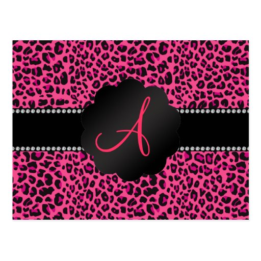 Leopardo rosado del monograma postales