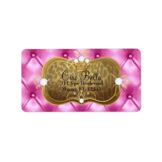 Leopardo rosado del penacho de 311 Ciao Bella Etiqueta De Dirección