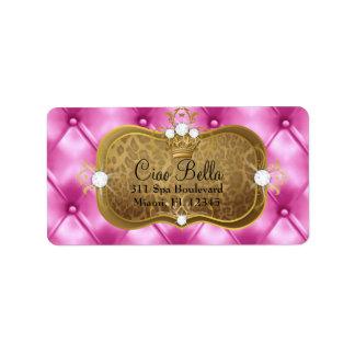 Leopardo rosado del penacho de 311 Ciao Bella Etiquetas De Dirección