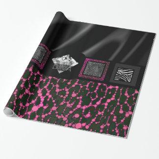 Leopardo rosado fluorescente de la diva papel de regalo